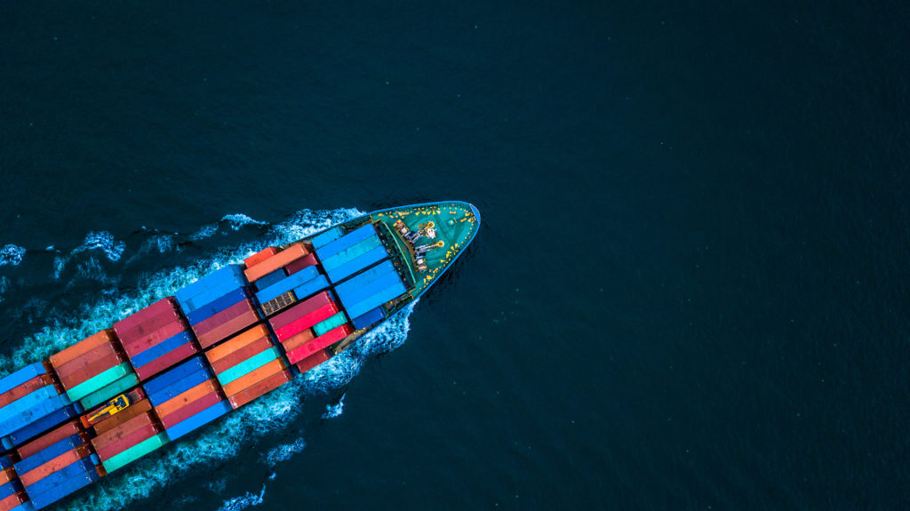 Aerial view from drone, container ship or cargo ship in import export