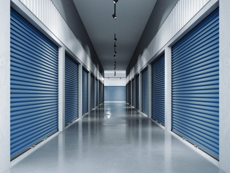storage facility corridor with blue doors