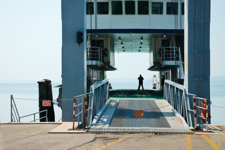 Roll on roll off ferry before loading