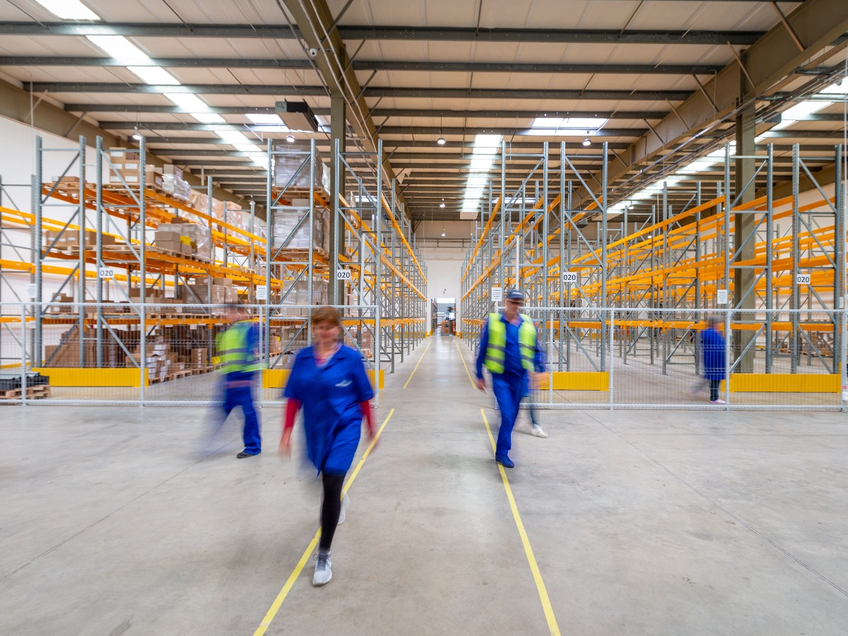 People in storage warehouse